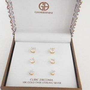 Take 50% Off! 18k gold over 925 Silver CZ Set -E46